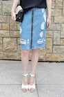 European style high quality to do the old washing hole denim skirts /Denim dress =LD-LY159