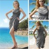 Sexy Gathered Romantic Scoop Neck Sleeveless Grey Satin Real Pictures of Cocktail Dress