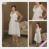 3338-1hs Newest Elegant A-Line Design Cap-sleeve V-Neck Knee-Length V-backless Plus White Chiffon with Bead Evening Dress