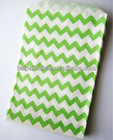 Medium LIME GREEN Chevron Design 5 x 7.5 white kraft paper gift bags