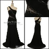 high qulity black long sleeve evening dress qy668
