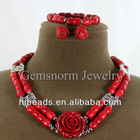 Natural Red Drum Coral Necklace/Carved Rose Earrings Set Fabulous Bridesmaid Gift Jewelry
