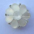white acrylic flower brooch