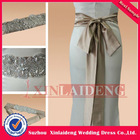 WDB001 stylish 3m length brown sash crystal pearl beaded belt for wedding dresses