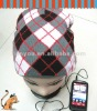 2012 checked knitting hat with headphone