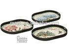 set/3 vintage oval metal tray for home&hotel