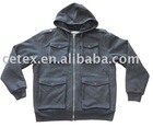 Mens cvc hoody coat with Lambswool inside, style no. 1804284