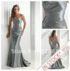 Ready To Ship Long 2012 Hot Style Silver Elastic Satin Formal Evening Dress