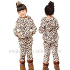Guangzhou Kids Clothes Baby Frock Coral fleece leopard grain Casual Sets