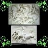 White stone wall relief of war scenery YL-F030