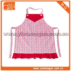 Red trim box pleat pink floral little children cute cotton cooking apron