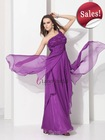 One Shoulder Long Chiffon Dresses On Sale Evening Purple