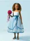 FG-073 Spaghetti Straps Light Blue Flower Girl Dress With Sash