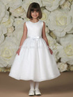 Organza Bodice Double Faced Satin Ribbon Waistband with Center Front Bow Organza Skirt with Sequins Flower Girl Dress