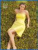 Taffeta Yellow Knee Length Bridesmaid Dress