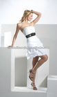 strapless ruching on skirt slight pickup skirt taffeta cheap short dress