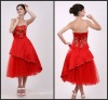 Red A-line Strapless Embroideried Tea Length Bridesmaid Dresses