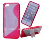 Hard Plastic Anti-slip Back Transparent Stand Case Cover for iPhone 5