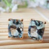 Natural Aquamarine Gold Jewelry Earring( eo1036)