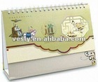 Monthly Desktop Calendar with Spiral Binding, Various Designs are Available, Made of Paper