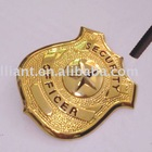 Plated and engraved zinc alloy metal badge