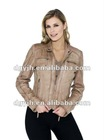 2012 Women's Leather Jacket With Zipper Pockets in Chest