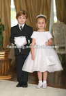 Morden scoop neck appliqued white satin flower girl dress