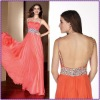 2012 Classic Off-Shoulder Chiffon Beaded And Sequins Ruffle Arabic Evening Dress