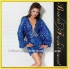 Hot Sale Sequin Deep V-neck Long Sleeve Beaded Lace Appliqued Sparkly Homecoming Dresses