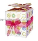 Chic popular handmade paper packaging gift box with ribbon handle