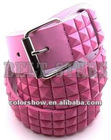 fashion 3.5cm women pink belt with pyramid studded