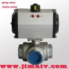 spring return pneumatic actuator 3 way stainless steel ball valve