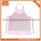 Pink trim box pleat floral kids cute cotton cooking apron