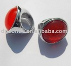 Lucite Red Round Finger Ring
