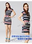 BFYl227 Lowest price for navy style line strip chalaza lady dress