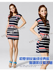 BFYl227 Lowest price for navy style line strip chalaza lady dress