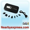 Black Dual USB Output 10000mAh 2A Power Bank with 7 DC Tips and 1W Built-in Flashlight for Tablets PCs iPhone