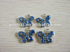 2012 New Hot fashion charm 316L Surgical Stainless Steel butterfly shaped gem blue stone dangle pendant