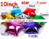 "Solid Plain foil balloons , 10"" Star Shaped Balloons Plain foils in 7 colours Red Pink Gold Silver Blue Green Purple"