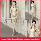Knee-length satin scalloped strapless pleats mother of the bride dresses with bolero jackets
