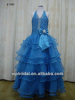 Royal blue beaded organza layer skirt flower girl dress patterns