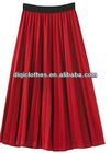 modern summer red pleated &mini skirt for women in chiffon
