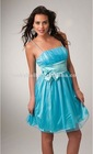 New Arrival Spaghetti Strap Blue Satin Short Evening Dress