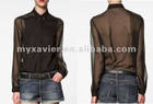 ready-made garments, women's fashion shirts with contrast front (S1003)