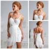 Ravishingly Sexy White Chiffon Spaghetti Cocktail Dress Short