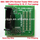 CPU Socket Tester With Lamp/LED For Laptop 988 / 989, Supporting I3, I5, I7