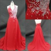 Sophisticated halter red satin court train extensive beaded bodice natural waistline pleating cheap prom dresses