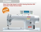 Direct drive high speed lockstitch sewing machine with automatic thread trimmer