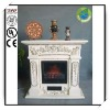 40 Inches White Fiberclay Roman Electric Fireplace