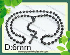 Unisex long black onxy beads wholesale sideways cross necklace